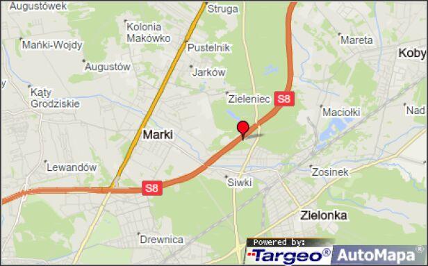 Do zderzenia doszło na S8 za węzłem Zielonka  Mapy Targeo
