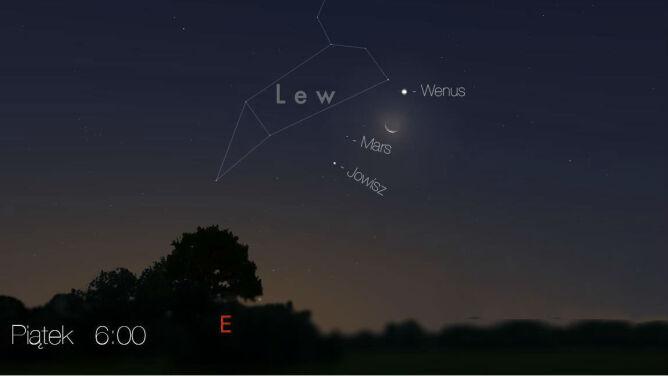 Poczwórna koniunkcja na nocnym niebie: Księżyc w towarzystwie Wenus, Marsa i Jowisza
