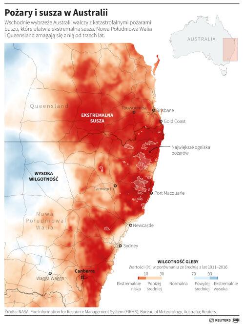 Pożary i susza w Australii (PAP/Adam Ziemienowicz)