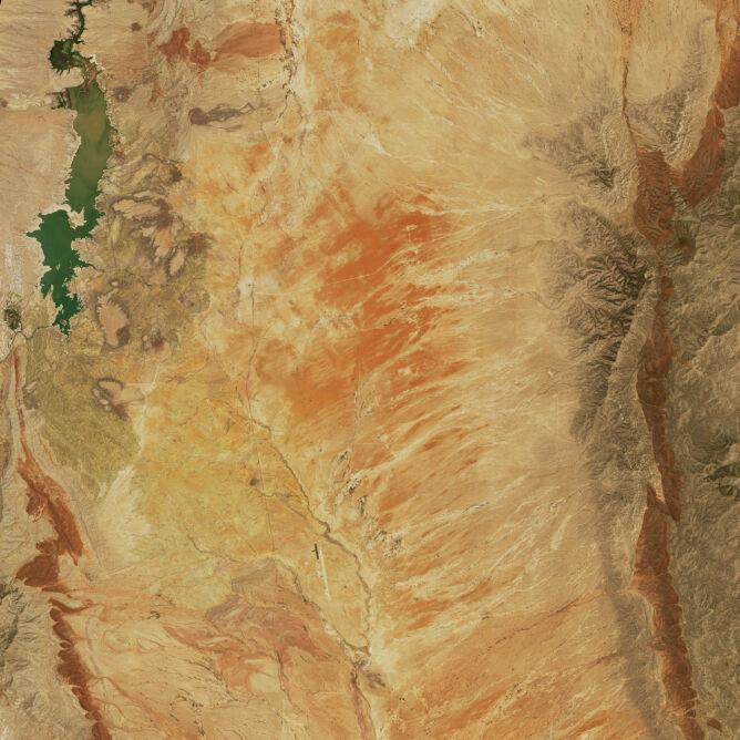 Zdjęcie satelitarne rzeki Rio Grande w pobliżu zbiornika retencyjnego Elephant Butte z 2020 roku (NASA)
