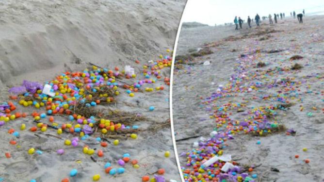 Setki tysięcy jajek niespodzianek na plaży