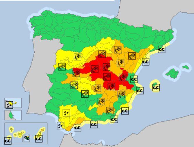 Ostrzeżenia meteorologiczne w Hiszpanii (meteoalarm.eu)