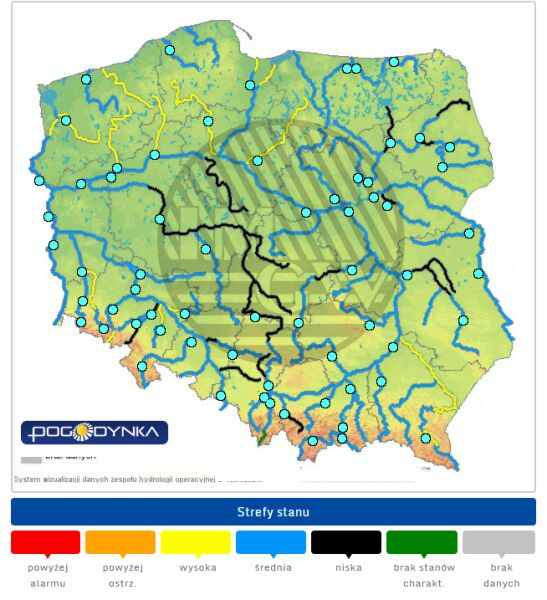 Stan wody w rzekach w Polsce z godz. 7 (6 marca 2020)(pogodynka.pl/polska/hydro)